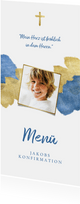 Menükarte Konfirmation Foto Wasserfarbe & metallic blau