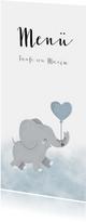 Menükarte Taufe blau Aquarell Elefant mit Luftballon