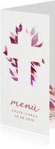 Menükarte Taufe florales Kreuz pink