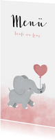 Menükarte Taufe rosa Aquarell Elefant mit Luftballon