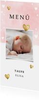 Menükarte Taufe rosa mit Foto und Herzen