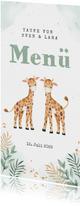 Menükarte Taufe Zwillinge mit zwei niedlichen Giraffen