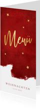 Menükarte zu Weihnachten rot mit Sternen