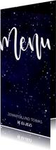 Menükarte zum Hochzeitsdinner im Galaxy Design