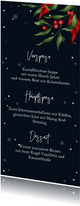 Menükarte zum Weihnachtsessen Nachthimmel & Ilex