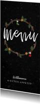 Menükarte zum Weihnachtsessen Weihnachtskranz klassisch