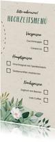 Menükarte zur Hochzeit Blumen & Doodles