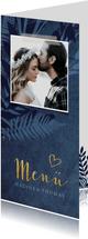 Menükarte zur Hochzeit dunkelblau Pflanzen & Foto