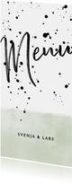 Menükarte zur Hochzeit im Aquarelllook mit schwarzen Punkten