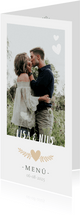 Menükarte zur Hochzeit mit Fotos und Herzen