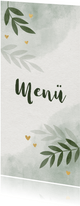 Menükarte zur Hochzeit mit Zweigen und goldenen Herzen