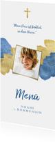 Menükarte zur Kommunion blaue Metallic-Akzente und Foto
