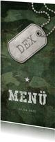 Menükarte zur Kommunion Militarylook grün