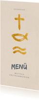Menükarte zur Kommunion Symbole in Gold