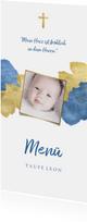 Menükarte zur Taufe Foto metallic blau