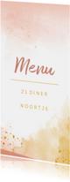 Menukaart 21 diner waterverf oker goud en roze