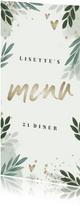 Menukaart botanisch 'menu' met gouden hartjes