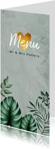 Menukaart bruiloft botanisch groen goud bladeren