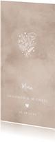 Menukaart bruiloft neutrale waterverf hartje & bosje bloemen