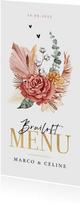 Menukaart bruiloft stijlvol bohemian droogbloemen goud