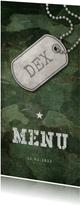 Menukaart communie army stoer met foto en legerplaatje