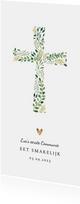 Menukaart communie christelijk met kruis en gouden hartjes