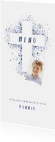 Menukaart communie foto & kruis verfspetters blauw