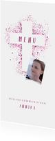 Menukaart communie foto & kruis verfspetters roze