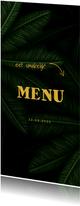 Menukaart communie jungle bladeren met pijltjes