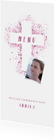 Menukaart communie kruis & foto verfspetters roze