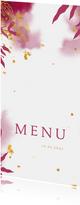 Menukaart communie met gouden bladeren en roze waterverf