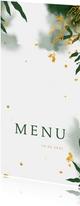 Menukaart communie met groene waterverf en gouden bladeren