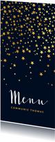 Menukaart communiefeest sterren goudlook blauw