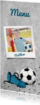 Menukaart eerste communie met voetbal, betonlook en foto