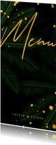 Menukaart jungle bladeren met gouden 'menu'