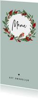 Menukaart kerstdiner met kerstblaadjes en roodborstje