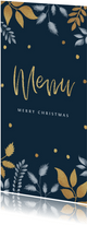 Menukaart kerstdiner stijlvol met blaadjes en goud