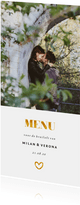 Menukaart met 1 foto en gouden accenten langwerpig