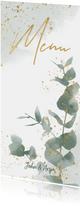Menukaart met groene waterverf, takjes en gouden typografie