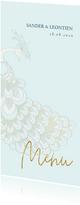 Menukaart sierlijke pauw wit/goud op blauw
