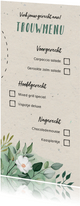 Menukaart trouwmenu botanisch doodle vinkjes