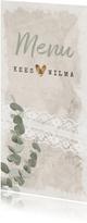 Menukaart vintage eucalyptus trouwen of jubileum
