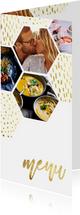 Menukaart zeshoek fotocollage met gouden confetti