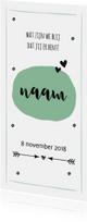 Mintgroen geboortekaartje met pijl