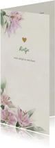 Mooie rouwkaart met lelies getekend op gewassen achtergrond