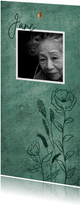 Naturel rouwkaart met wilde bloemen en bronzen hartjes
