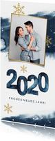 Neujahrskarte aquarell 2020 mit Foto und Schneeflocken