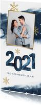 Neujahrskarte aquarell 2021 mit Foto und Schneeflocken