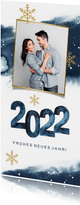 Neujahrskarte aquarell 2022 mit Foto und Schneeflocken