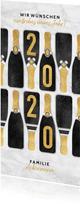 Neujahrskarte Champagnerflaschen und Jahreszahl 2020